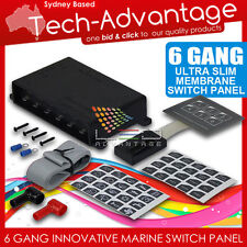 12V 6 GANG LED SWITCH PANEL WATERPROOF SLIM TOUCH CONTROL PANEL - BOAT/CARAVAN
