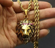 Amazing New Mens 316L Stainless Steel Lion Head Pendant Gold Rope Chain Necklace