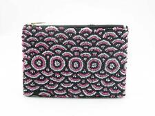 Seed bead sac à main rose et noir cercle design, 9cm x 13cm