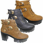 LADIES WOMENS HIGH BLOCK HEEL CLEATED SOLE PLATFORM LOW ANKLE CHELSEA BOOTS SHOE