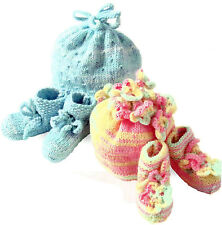 BABY HAT &  BOOTEES  (2 SETS) PATTERN EASY KNIT  0/12 MONTHS               (589)
