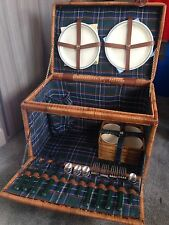 Vintage Wicker Picnic Basket Incl Plates/Cutlery And Cups - VGC