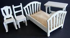Vintage Lot Of 4 White Wood Dollhouse Furniture Bed Chairs Table Plus Mattress