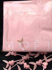 MOET CHANDON CHAMPAGNE CUPIDS LOVE ARROW COCKTAIL NAPKINS & 12 LOVE ARROWS NEW