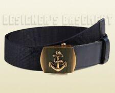 GUCCI blue Canvas 36-90 brass ANCHOR Slip LOGO buckle Belt NWT Authentic $330!
