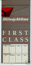 MIDWAY AIRLINES TICKET JACKET/FOLDER/WALLET 1991 FIRST CLASS UNUSED