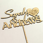 Personalised Wedding Cake Topper Mr & Mrs Couples Wooden Engraved Custom Text