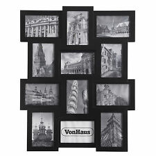 "New VonHaus 12 Black Wooden Multi Aperture Modern 6""x4"" Photo Picture Wall Frame"