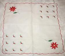 "Vintage Christmas Handkerchief  Cotton/ Blend Embroidered 12"" Sq Scalloped Hem"