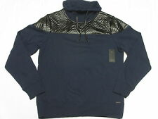 $98 NWT NEW Mens Guess Quilted Chevron Funnel Sweatshirt Navy Black Size L M507