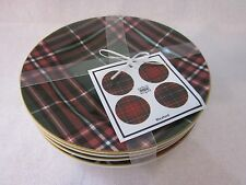 222 FIFTH WEXFORD RED GREEN PLAID TARTAN CHRISTMAS APPETIZER PLATES SET 4 NEW