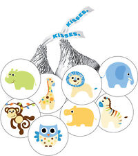 108 Jungle Animals Baby Boy Shower Favor Stickers for Hershey Kisses -10 designs