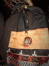 BOLD BOHO DESIGN SHOULDER BAG BLACK ORANGE COTTON WOODEN BUTTON & BUTTERFLY