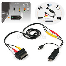USB VHS To DVD Video Audio Converter Adapter Capture Full Scart Kit +Cable&Leads