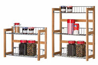 2 TIER 3 TIER FREE STANDING OR WALL MOUNTAIN BAMBOO SPICE JAR JARS RACK STAND