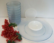 Tupperware Watercolor BLUE Acrylic Serving Set 3 ~Dip n Serve ~8 Salad Bowls