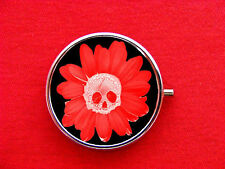 SKULL FLOWER TATTOO ROUND METAL PILL MINT BOX CASE