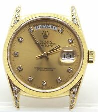 Rolex Day-Date President 18k Yellow Gold Ref 18038 Champagne Diamond Dial Watch