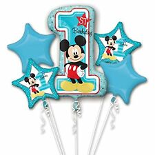 New Design Disney 1st Birthday Mickey  Mouse 5pk Helium Balloon Bouquet Display