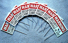 8 WARNING SECURITY CAMERAS IN USE Coroplast  YARD SIGNS 8x12 w/ Stakes  Security