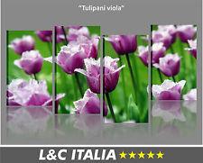 Tulipani viola QUADRO MODERNO STAMPA TELA FIORI ARREDO CASA SPA QUADRI FLOWER