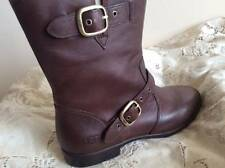 UGG FRANCES CHOCOLATE LEATHER BOOTS MID CALF US 7