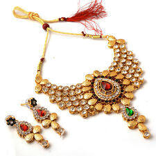 Necklace Set Fine Gold Finish Kundan Ad Jade Gemstone Jewelry 6954