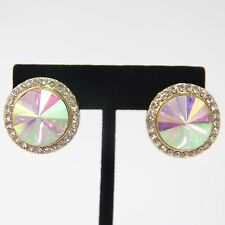 """1"""" gold ab crystal round clip on earrings non pierced bridal prom pageant"""