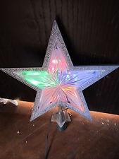 """Sterling 10"""" LIGHTED STAR TREE TOP topper In Box Silver Trim 0134"""