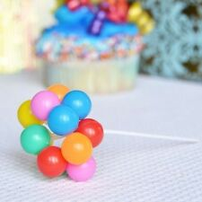 """Set of 8 Clusters Rainbow Balloons Pick 7"""" Cake Topper 80x Up Balloons"""