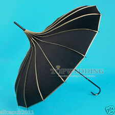 Vintage Black Nylon Bridal Pagoda Umbrella Wedding Party Prom Shower Sun Parasol