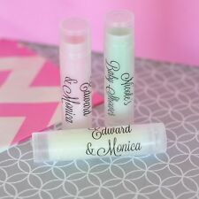 48 Personalized Clear Label Lip Balm Tubes Bridal Shower Wedding Favors