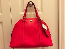 NWT COACH Peyton Leather Cora Domed Satchel Cross Body F25671 Red