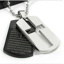 New Men's Silver Black Steel Cross Chain Pendant Stainless Necklace Charm Gift