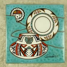 Cleo Teissedre Ceramic Art Tile Southwestern Pottery and Sun Kachina 1991 6x6