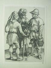 Albrecht DURER VINTAGE incisione su rame tre contadini nella conversazione