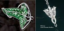 LOTR 2x Set Lord Of The Rings Elven Leaf Brooch Arwen Evenstar Pendant Necklace