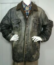 Gap Brown Distressed Leather Men's 2XL XXL Sherpa Coat Jacket Button Front