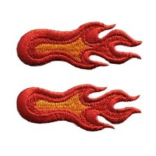 Set Of 2 Small Flame Fire 3 Different Red Embroidered Iron On Applique Patch
