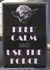 "Keep Calm and Use The Force 2"" X 3"" Fridge / Locker Magnet. Chive On Yoda Jedi"