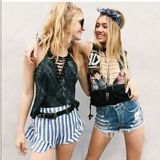 LF furst of a kind blue deep  V side lace up sleevless graphic top NWT OS $138