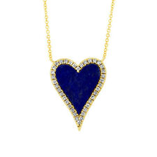 0.93tcw 14K Rose Gold Natural Lapis Lazuli and Diamond Heart Pendant Necklace