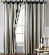 Grey and Black Stripe Eyelet Curtains 90s - Montana, Living / Bedroom Curtains