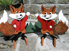 Horse show jump fillers or wings 2 x Handmade foxes includes stands fox pony c