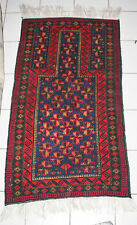 Vintage Turkeman Balutch Afghan Hand Knotted Wool Prayer Rug