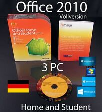 Microsoft Office Home and Student 2010 Vollversion 3 PC Box + DVD mit OVP