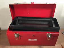 """Vintage Proto Portable Steel Tool Box 20"""" with Top Tray Lockable Red"""