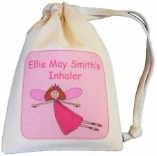 Personalised - Fairy Asthma Inhaler bag - TINY cotton drawstring bag - EMPTY