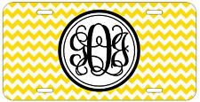 Personalized Monogrammed Chevron Yellow License Plate Custom Car Tag L457