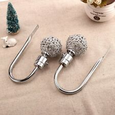 2 x CH15 60mm Silver Elegant Glass Crystal Curtain Hold Back, Hook Wall Tie Back